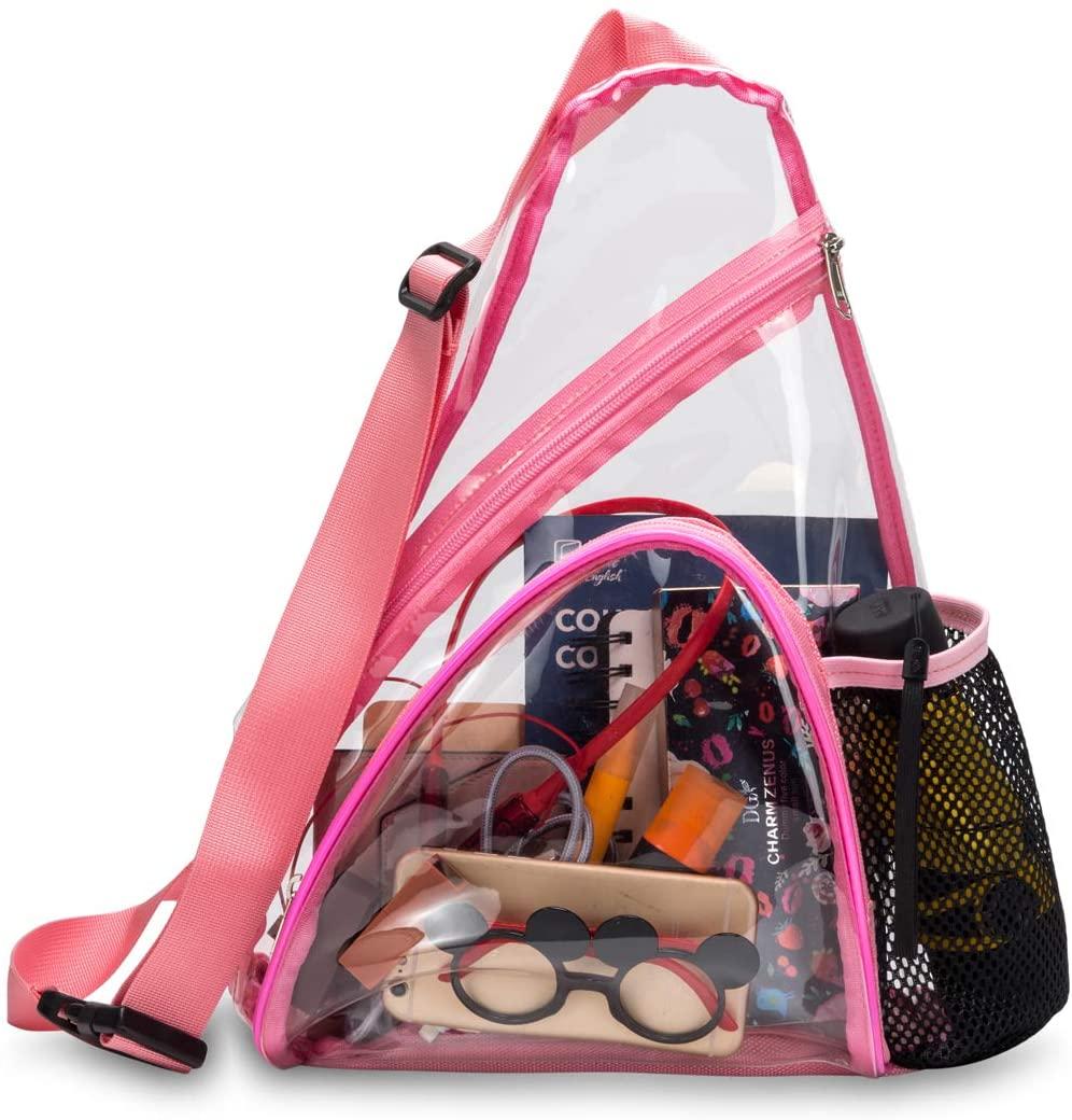Clear Sling Bag Stadium Approved Transparent Crossbody Shoulder Backpack Bag for Men and Women (Pink)