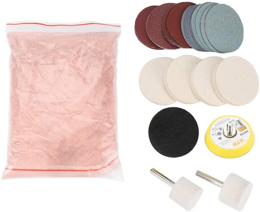 Glass Polishing Kit Scratch Removal Set, 34 Pcs Deep Scratch Remover Ceric Dioxide Abrasive Discs Polish Pad Felt for Windscreen and Glass
