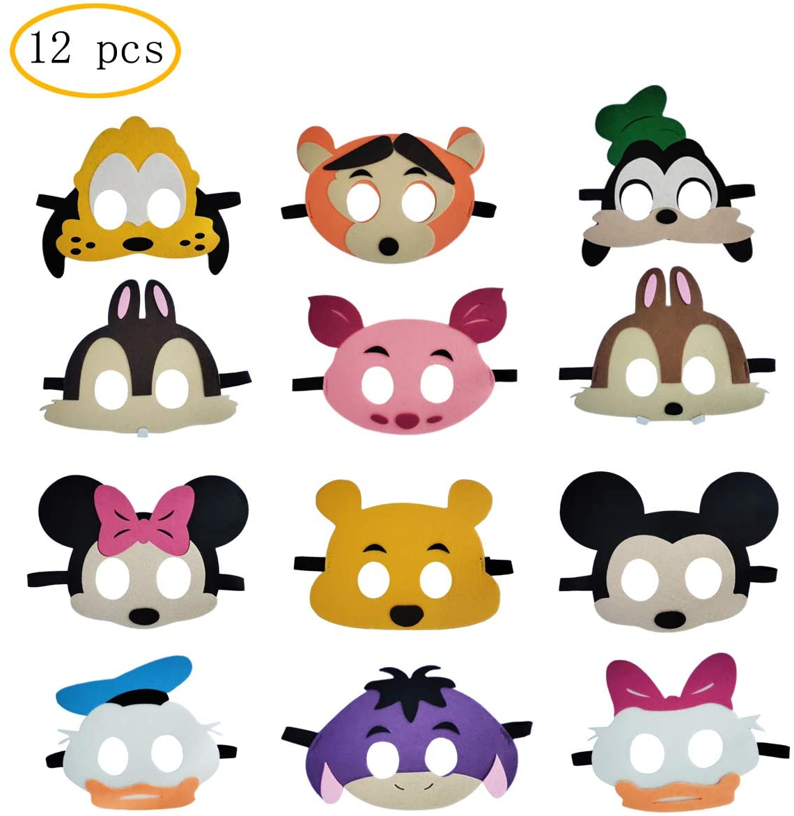 12 pcs Mickey Mouse Party Masks For Kids, Mickey theme party supplies, children's masked party props, photo booth props