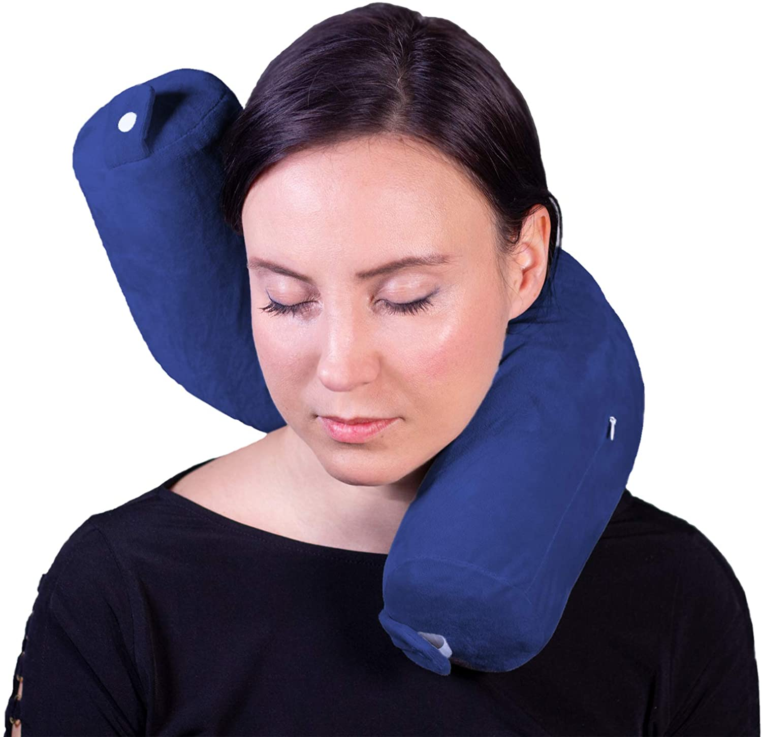 Vertall Travel Pillow Twist Memory Foam for Neck, Chin, Back, and Leg Support for Sleep, Work, Travel, or Home - Lightweight and Adjustable (Navy Blue)