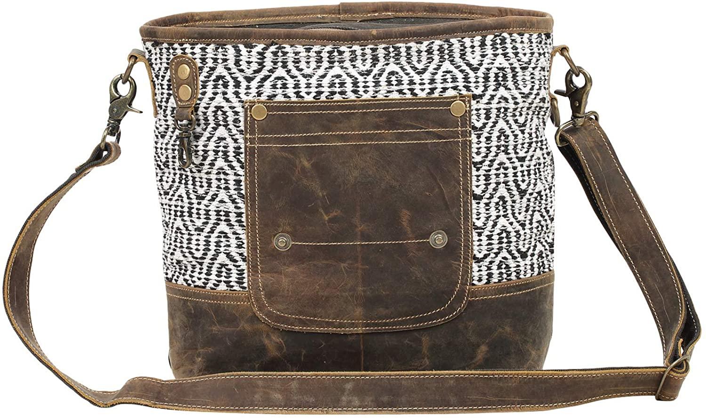 Myra Bag Burnt Sienna Upcycled Canvas Cotton & Leather Shoulder Bag S-1543