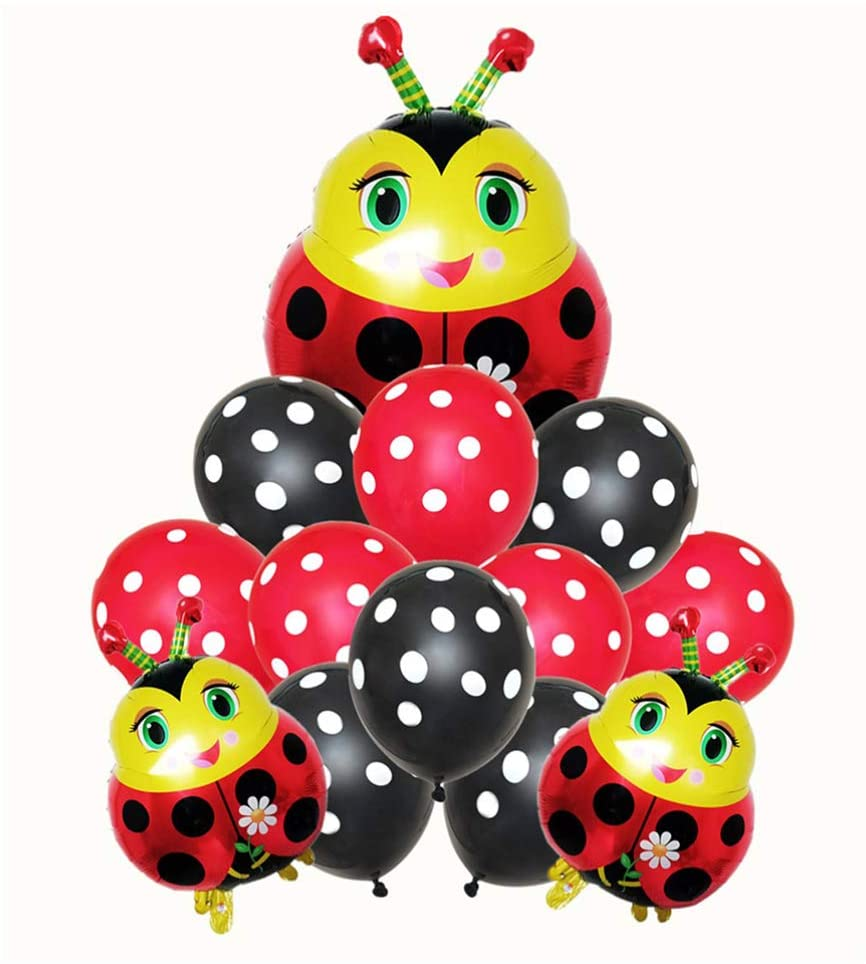Amosfun 13pcs Ladybug Foil Balloons Insect Animal Latex Balloons Aluminum Foil Decorations Birthday Party Supplies Baby Shower Decorations