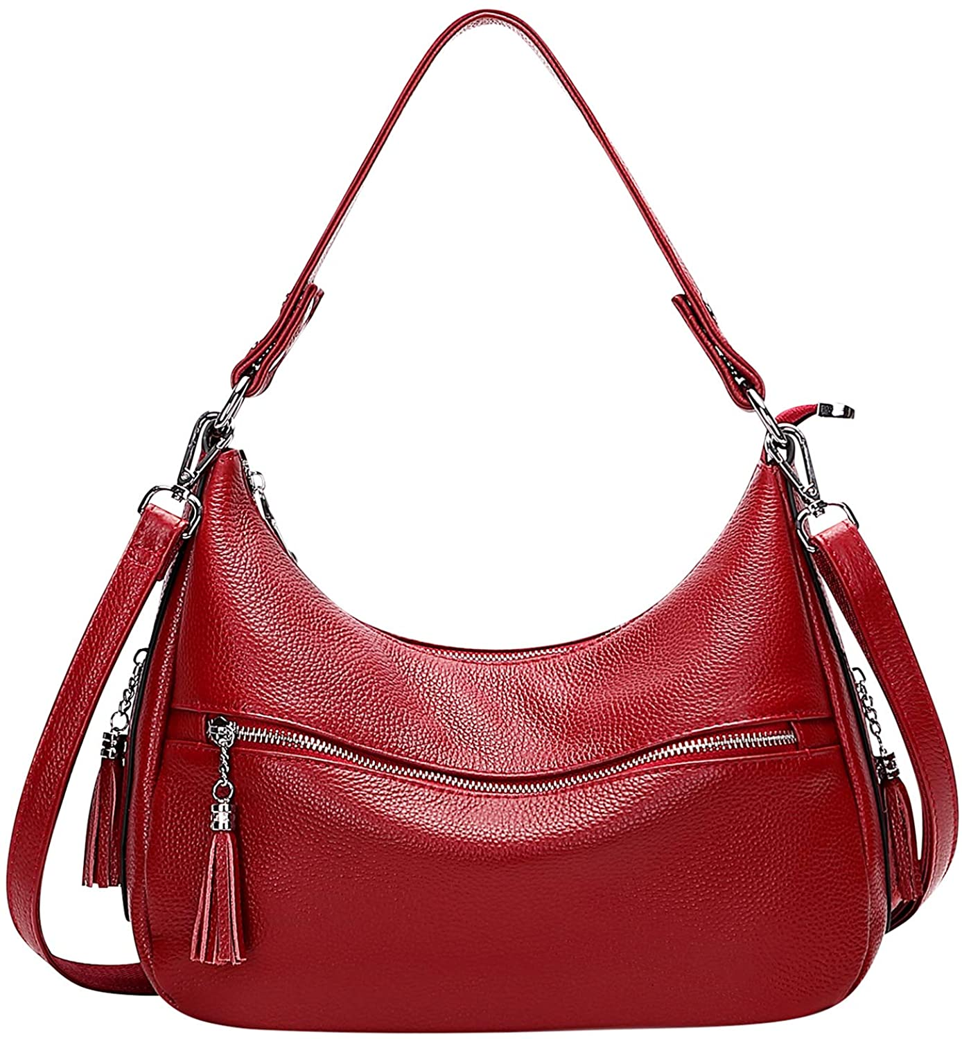 OVER EARTH Genuine Leather Purses and Handbags for Women Hobo Purse Shoulder Tote Bag Ladies Crossbody Bag with Tassel Medium