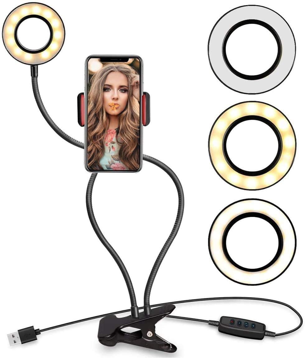 "Selfie Ring Light with 24"" Gooseneck Stand & Cell Phone Holder Makeup Light, Social Media Influencer Live-Streaming Phone Mount and Light Kit"