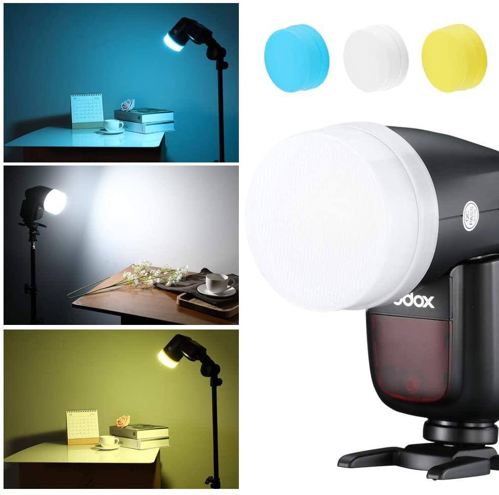SUPON Camera Flash Diffuser Bounce Dome Light Set for Godox V1 Flash Series,V1-C, V1-N, V1-S, V1-F, V1-O, V1-P Round Head Flash Speedlite (White, Blue, Yellow)