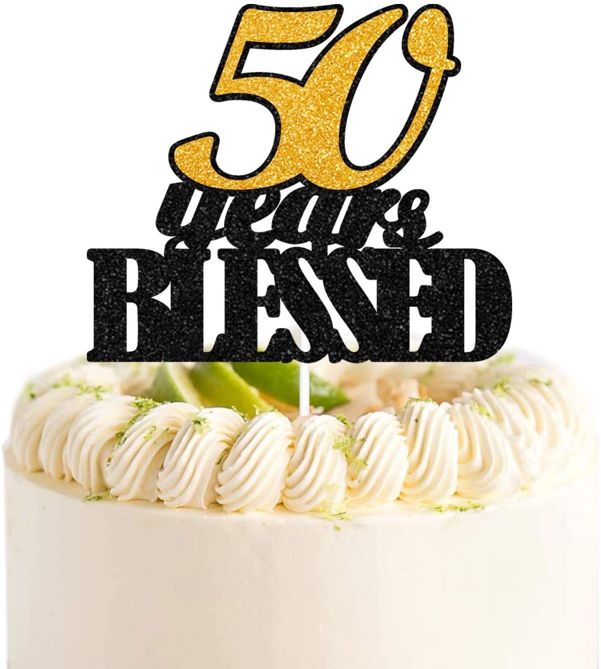 50 Years Blessed Black Gold Glitter Cake Toppers 50 Years Old 50th Birthday Anniversary Party Decorations Gift Supplies