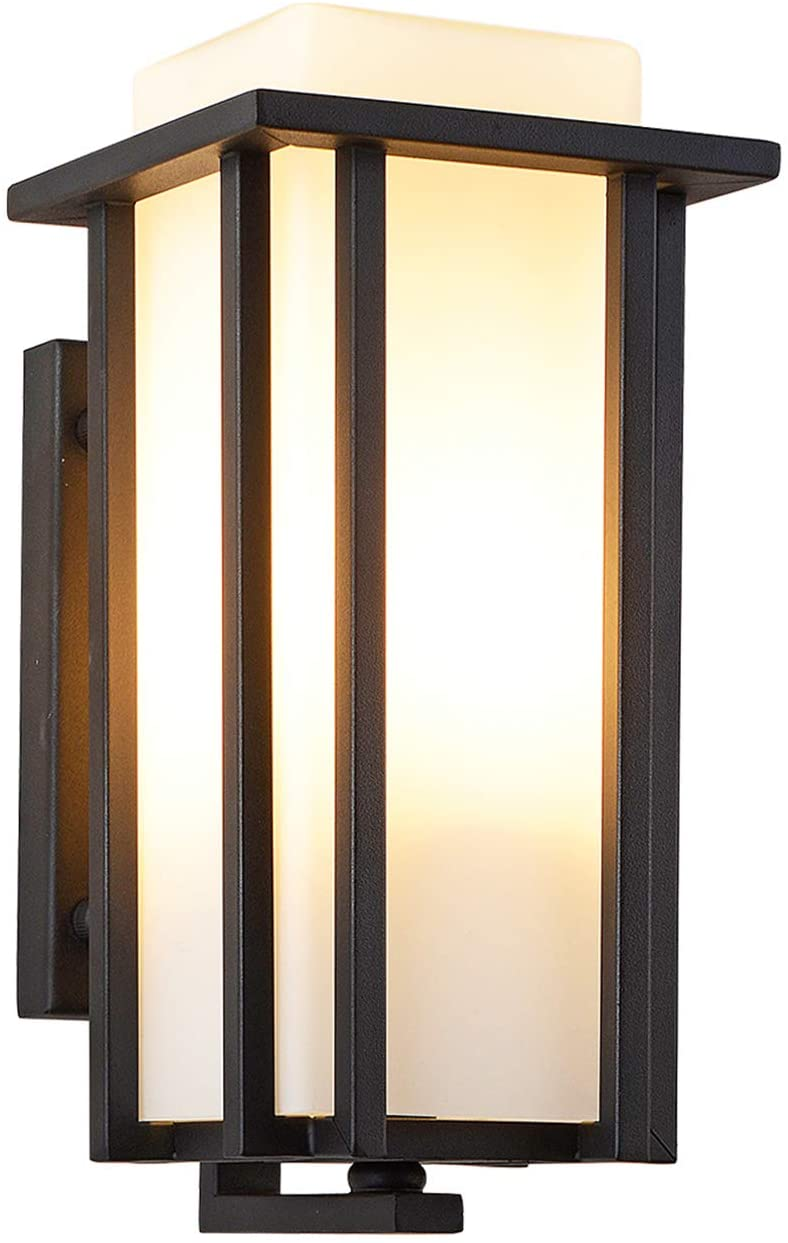 EERU Large Outdoor Wall Light Exterior Wall Lantern as Porch Light Fixture, Large Size:15.35 H x 6.7 W, Weather & Rust Resistant,Black Finish with Frosted Glass for Outside House Lighting(Large)