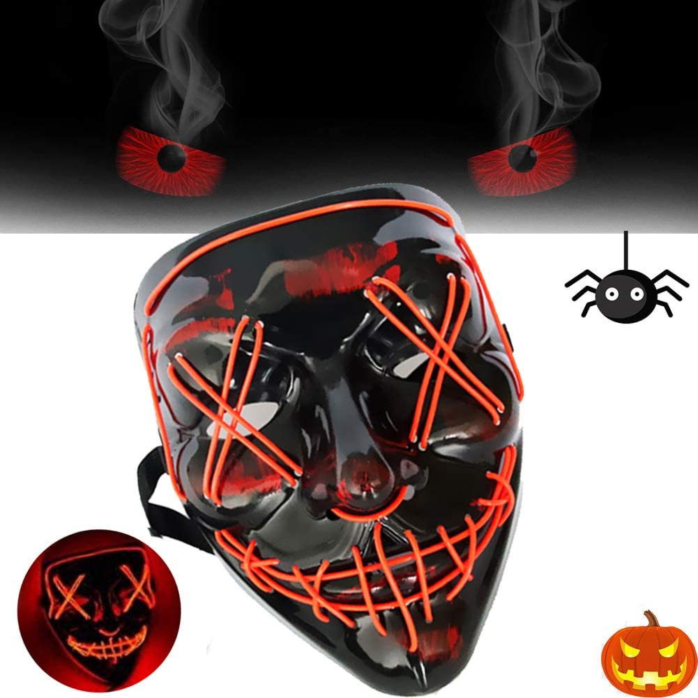 LED Halloween Mask with Three Lighting Modes Halloween Cosplay EL Wire Scary Mask Festival Cosplay Costume Mask for Adults Kid's Party Decoration Props