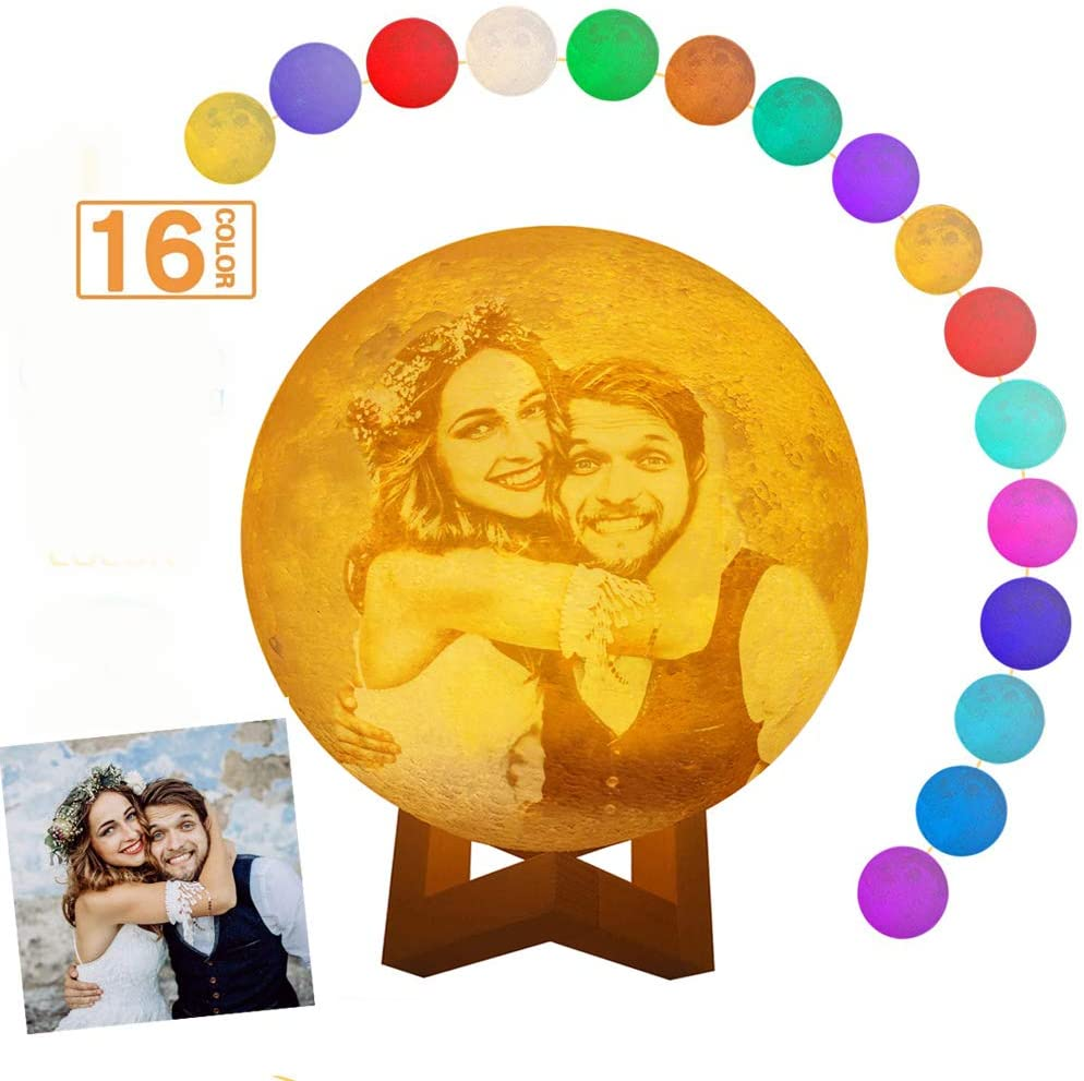 Custom Photo 3D Moon Lamp, USB Charging Night Light,16 LED Colors, Remote &Touch Control, Birthday Gift Idea for Women, Girls (4.7 in)