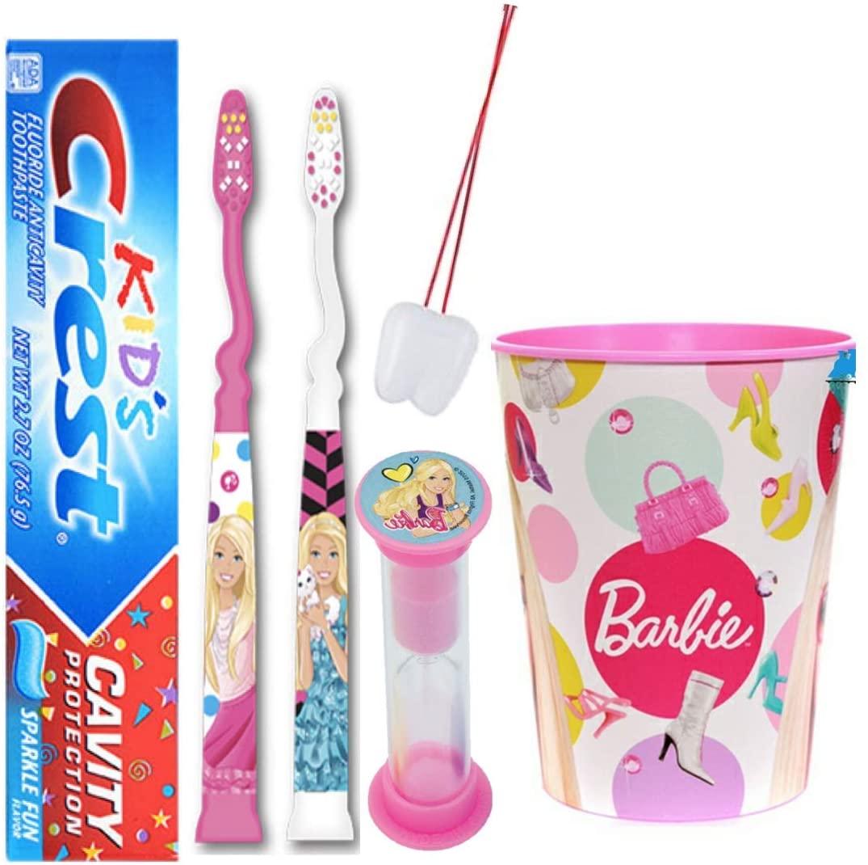 Barbie Inspired Girls 5pcs Bright Smile Oral Hygiene Bundle! 2 Reach Soft Manual Toothbrush, Toothpaste, Brushing Timer & Mouthwash Rinse Cup! Plus Bonus