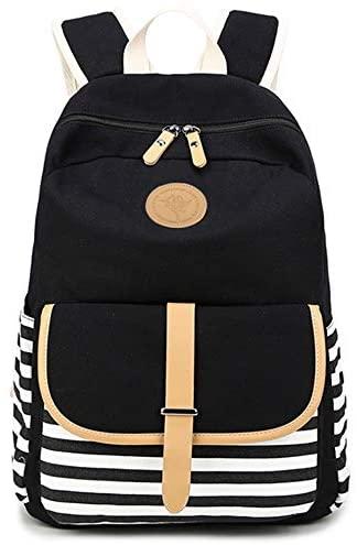 Chihom School Bacpack Lightweight Canvas Laptop Backpacks for Men Women Daypacks Stripe Rucksack Bookbags Black