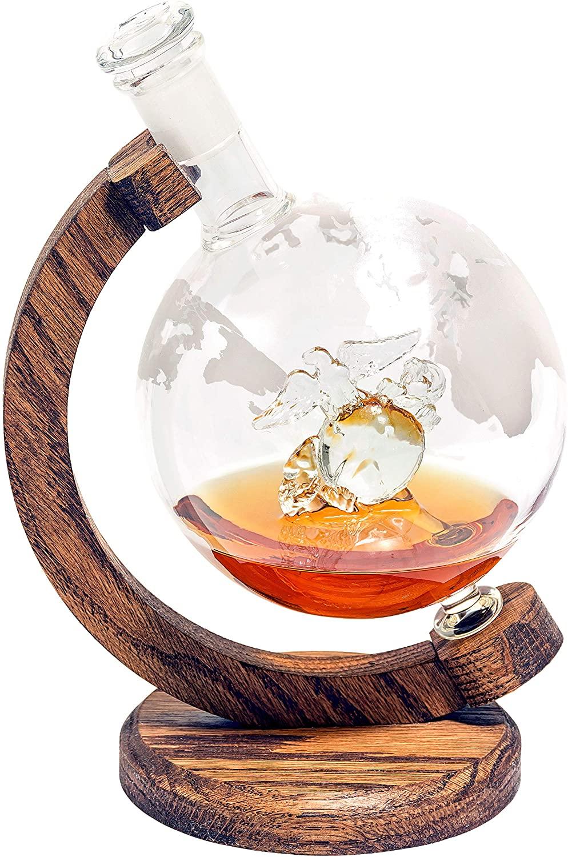 USMC Eagle Globe and Anchor - Marine Graduation Gifts & Veteran Gifts - US Marines EGA Decor Globe Whiskey Decanter (1000ml Decanter, Military Gift) Marine Corps Gifts - USMC Gifts for Men & Women