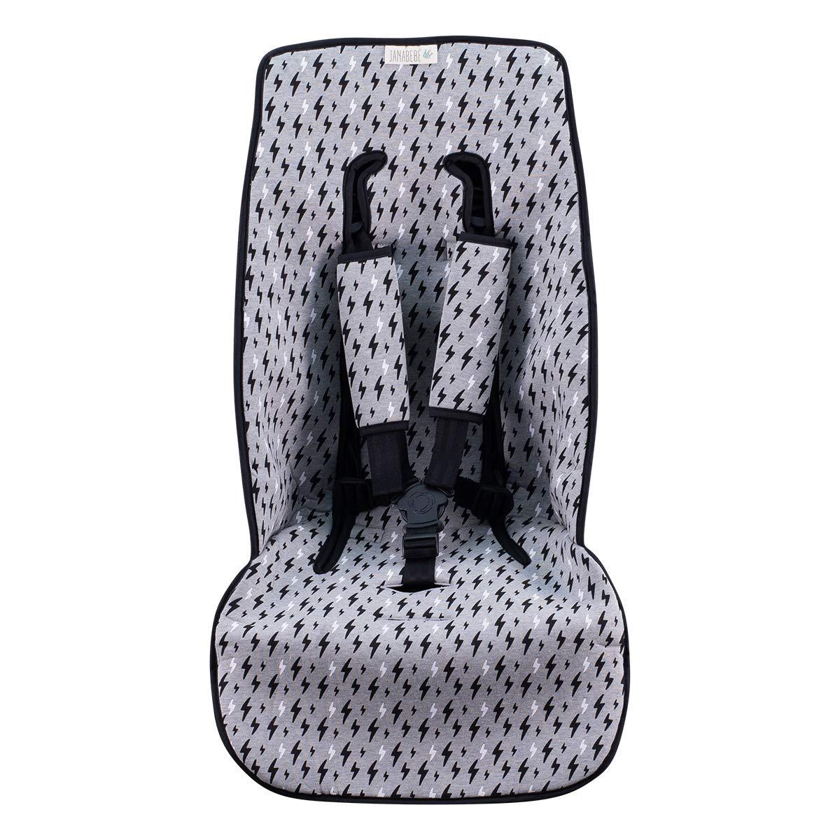 JANABEBE Cover Pushchair Luxury Foam Compatible with Inglesina, Cibex, Bugaboo (Black Rayo)