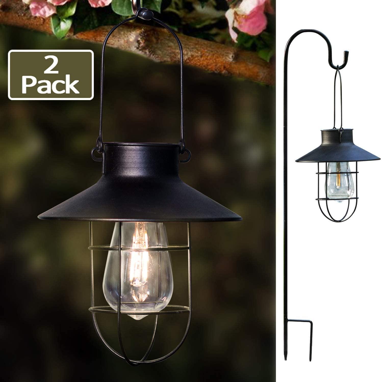 EKQ ROJOY Hanging Solar Lights Lantern Lamp with Shepherd Hook, Metal Waterproof Edison Bulb Lights for Garden Outdoor Pathway(2Pack/Black)