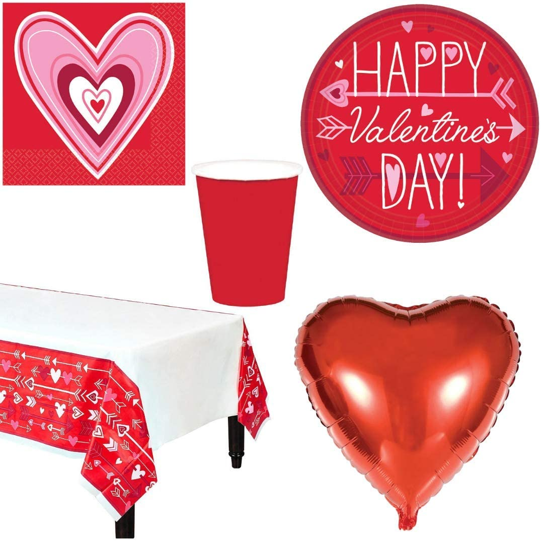 Valentine Wishes Valentine's Day Party Tableware Supplies Pack for 18 - Disposable Plates, Napkins, Cups, Table Cover, and Heart Balloons