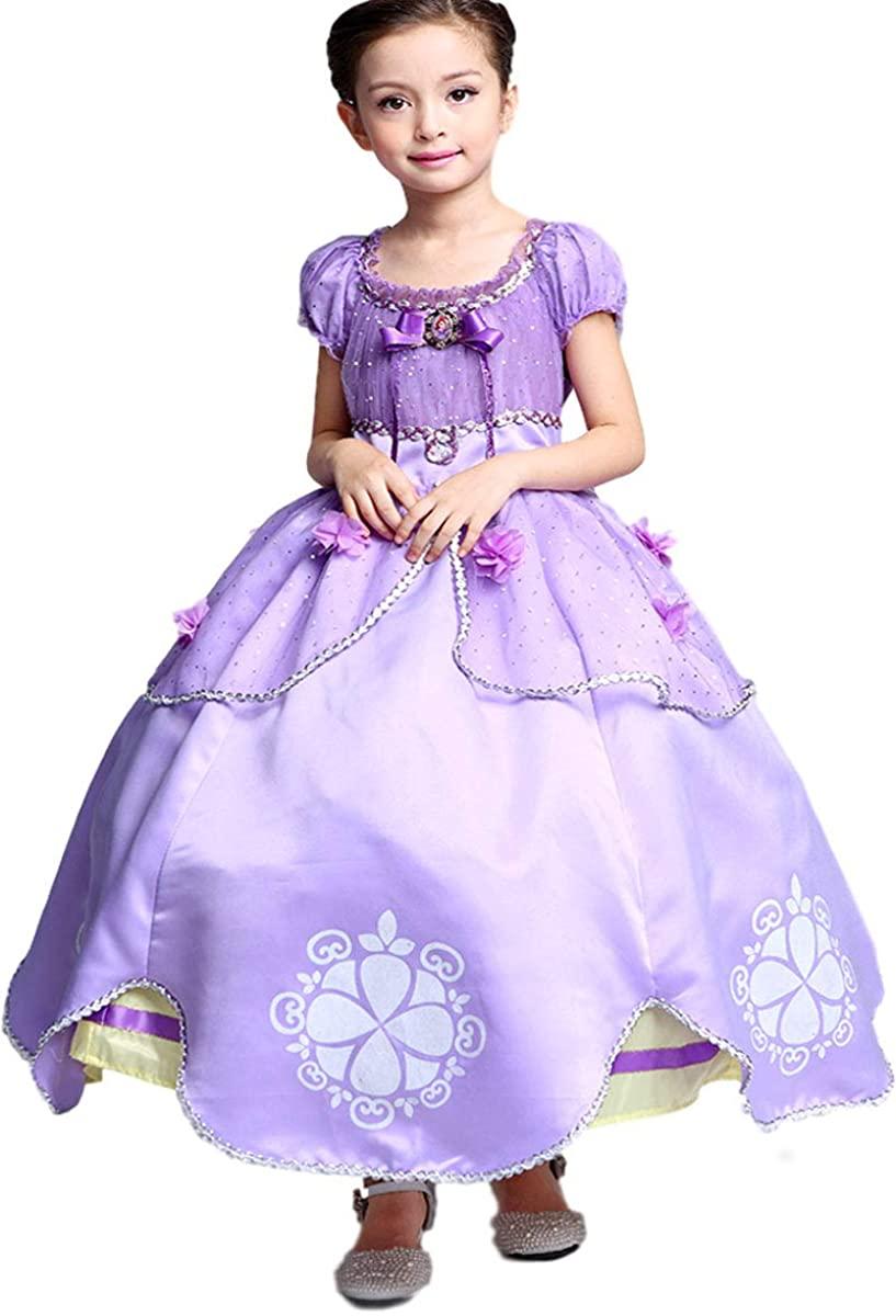 Little Girls Princess Sofia Costume Dress up Cosplay Fancy Party Dress (8/10,150)
