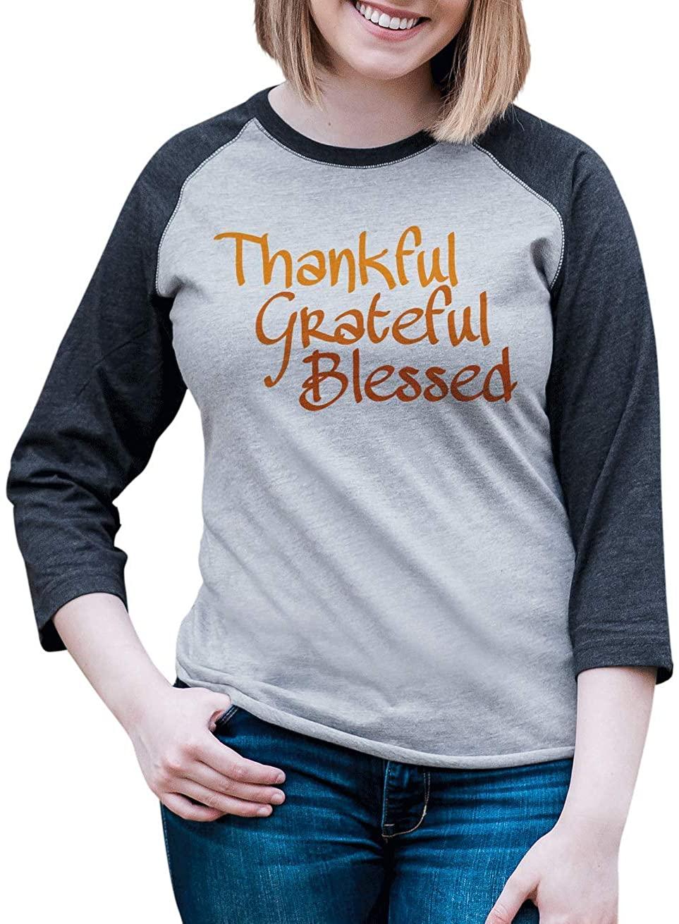 7 ate 9 Apparel Women's Thankful Grateful Blessed Thanksgiving Raglan