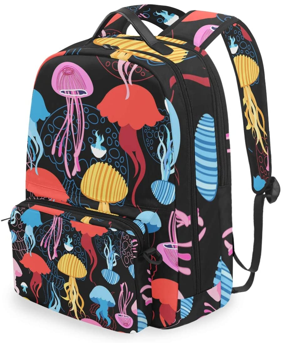 MAHU Backpack Colorful Jellyfish Underwater Animals Detachable College Bag Travel Zipper Bookbag Hiking Shoulder Crossbody Bag Daypack for Women Men