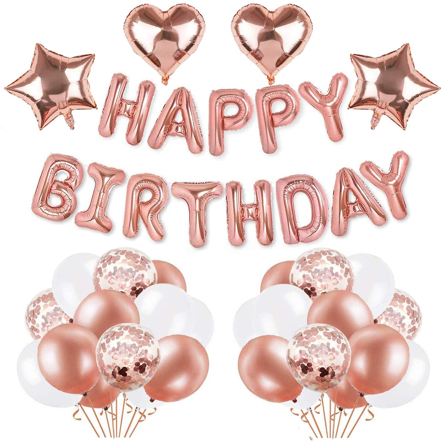 Rose Gold Birthday Party Decorations Set - with Happy Birthday Balloons Banner Rose Gold, Star and Heart Foil Balloons, Latex and Confetti Balloons for Women Girls Mom Ladies Birthday Party Supplies
