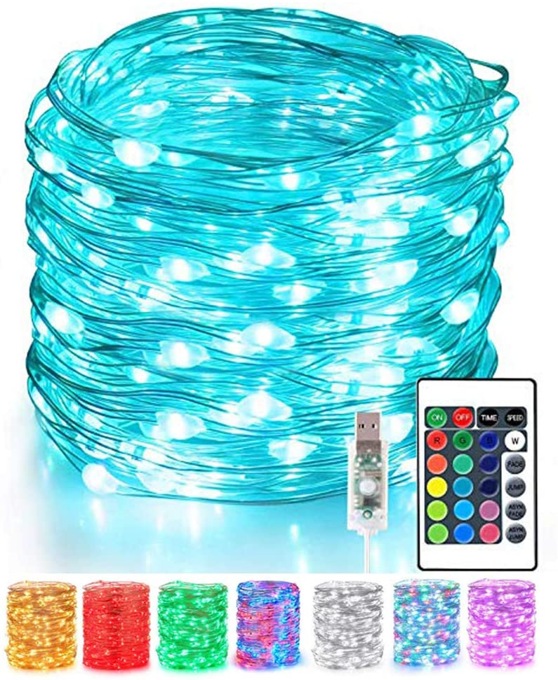 24HOCL 40 FT 120 LEDs Starry Fairy Silver String Lights USB Powered, 16 Color Changing LED String Lights with Remote Control for Halloween Christmas Wedding Party Home Decor
