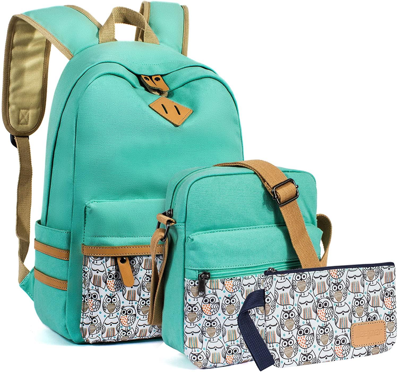 VOLINER 3Pcs/Set Cute School Laptop Backpack Shoulder Messenger Bag Pencil Pouch Water Blue