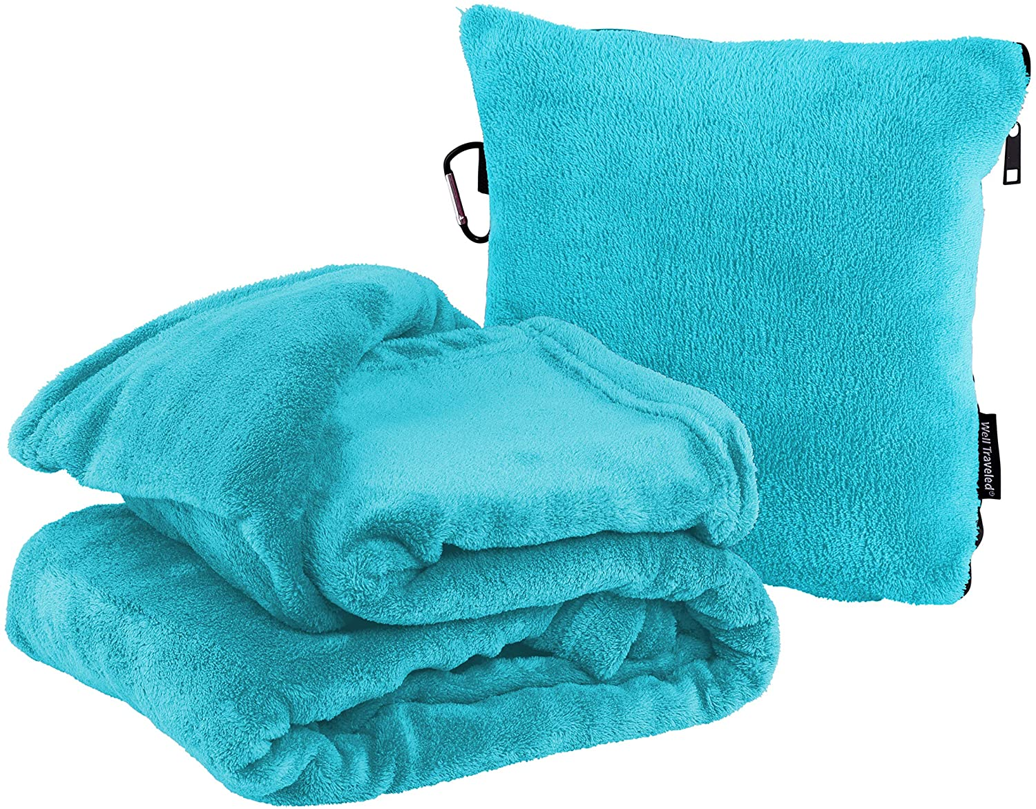 Well Traveled 2 in 1 Throw Blanket with Carry Case – Warm Fleece Blanket - Airplane Plush Neck Pillow for Sleeping Throw – Lightweight & Durable Blanket Travel Pillow - Teal