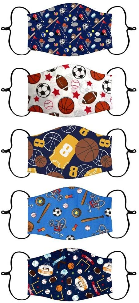 KYLEON Kids Children Adjustable Universe Animal Cute Printed Daily Use School Use for Boys Girls Cotton Reuseable Washable Halloween Christmas Party Use