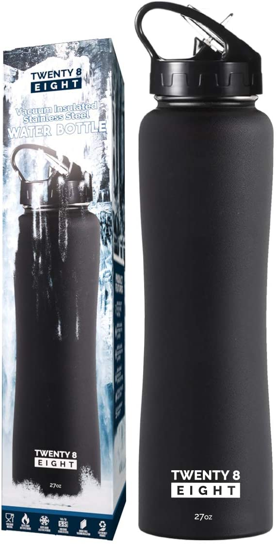 Vacuum Insulated Water Bottle - Stainless Steel Flask With BPA Free Straw Lid - Wide Mouth Thermos Keeps Drinks Cold For 24hrs And Hot For 12hrs (Matte Black - 27oz)