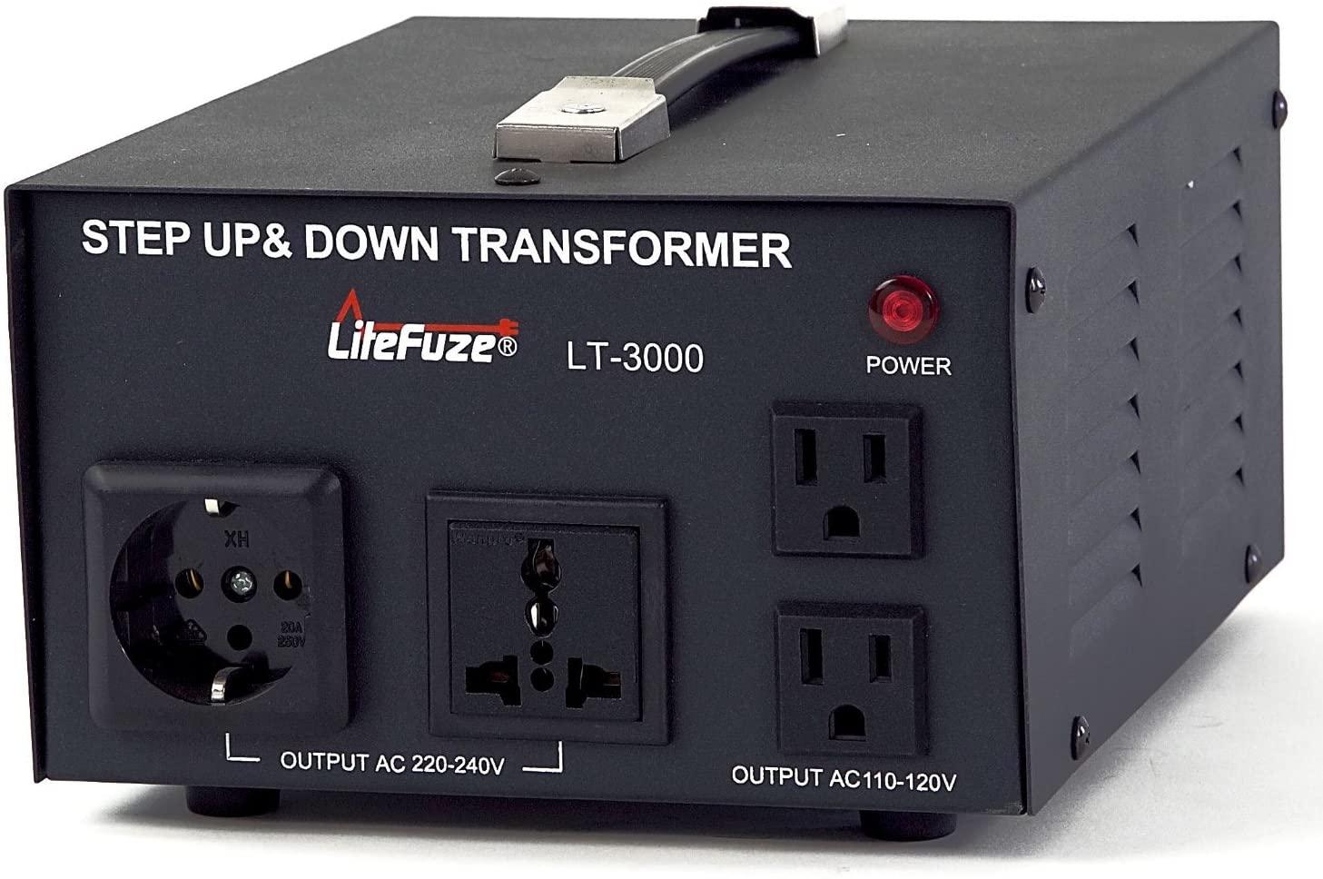 3000 Watt Voltage Converter Transformer by LiteFuze - Step Up/Down - 110V/220V - Circuit Breaker Protection -Heavy Duty/ - Convertingbox Technology - LT Series [5-Years Warranty]