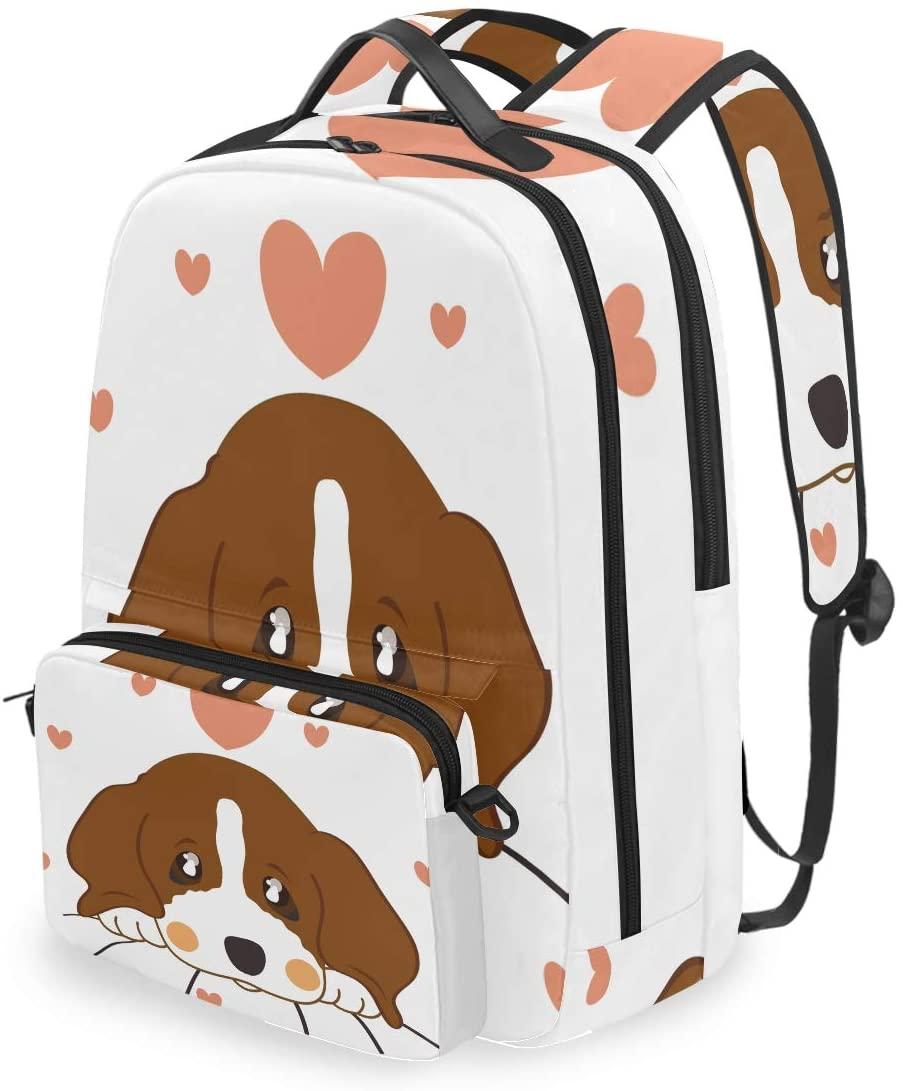 MAHU Backpack Cute Animal Dog Valentine Love Heart Detachable College Bag Travel Zipper Bookbag Hiking Shoulder Crossbody Bag Daypack for Women Men