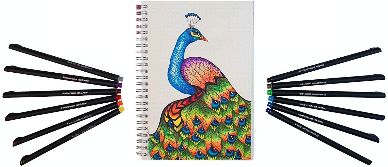 Journal Kit Starter Set - A5 Dotted Spiral Notebook - 12 Fineliner Pens - Best for Journaling - Journal Planner Set - by Hieno Supplies