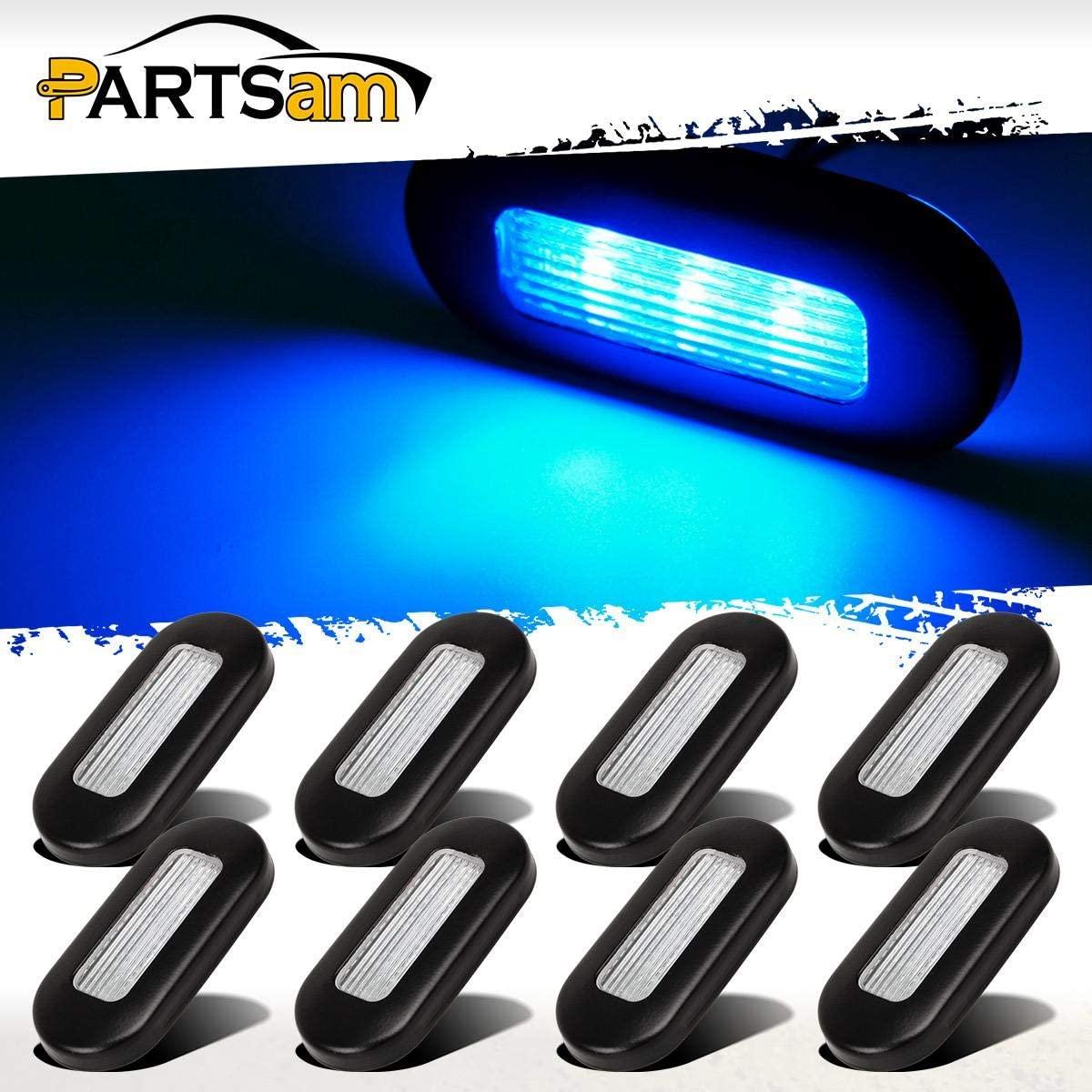 Partsam Pack8 12V Blue LED Oblong Courtesy Light Yacht Marine Boat Stair Deck Garden Lamp