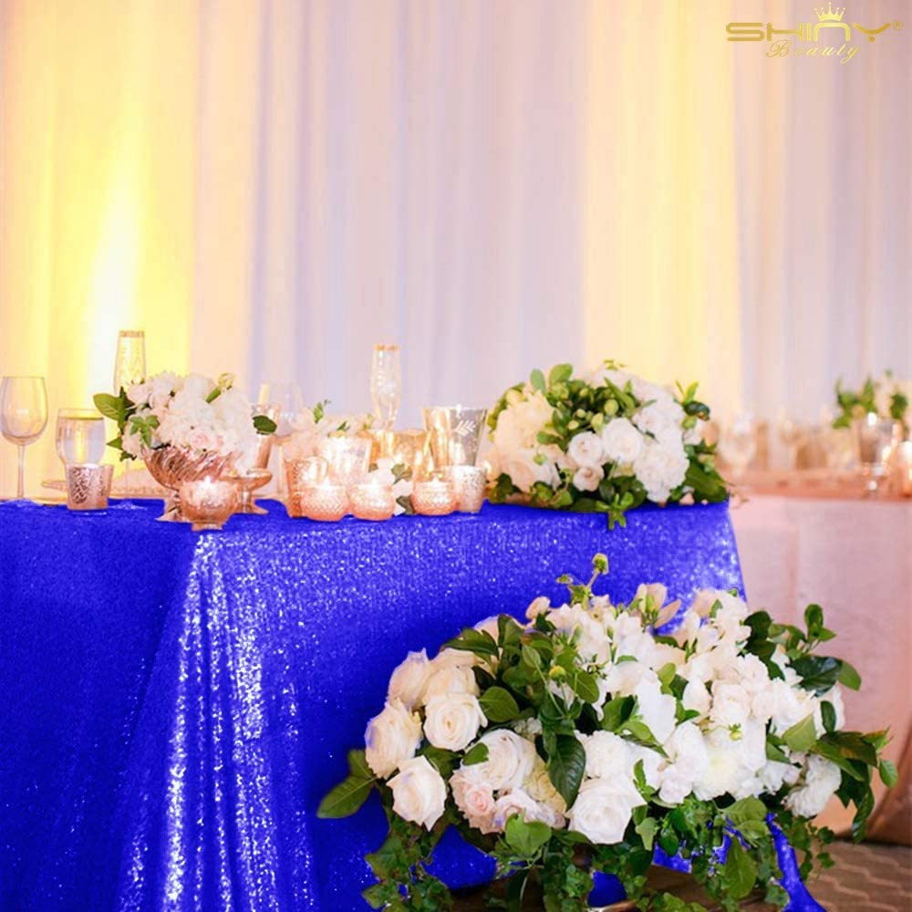 Royal Blue Sparkle Tablecloth 60x102-Inch Rectangle Blue Sequin Table Cloth Twinkle Twinkle Little Star Decorations 1st Birthday Girl -0807S