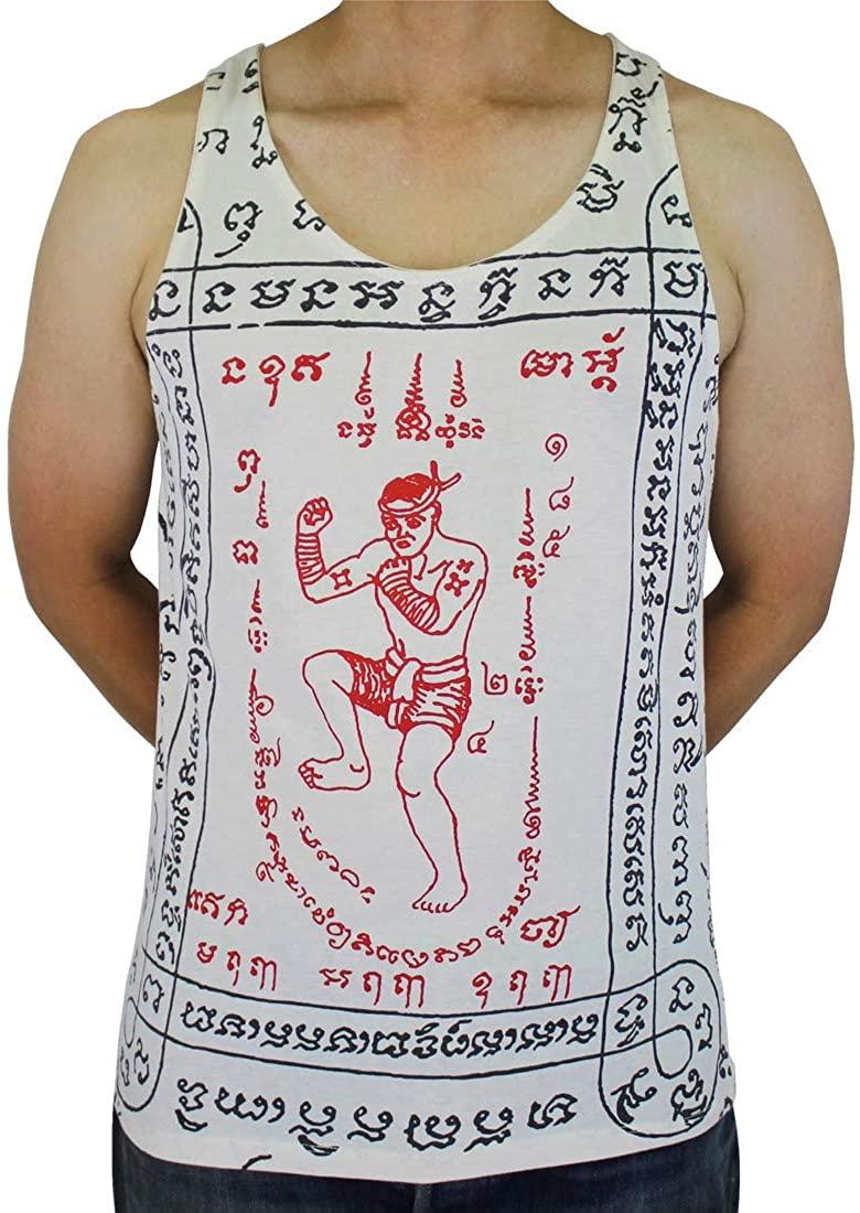 Work Muay Thai Tattoo sak yant MMA Kickboxing Tank Top White/WK-T13 Size XL