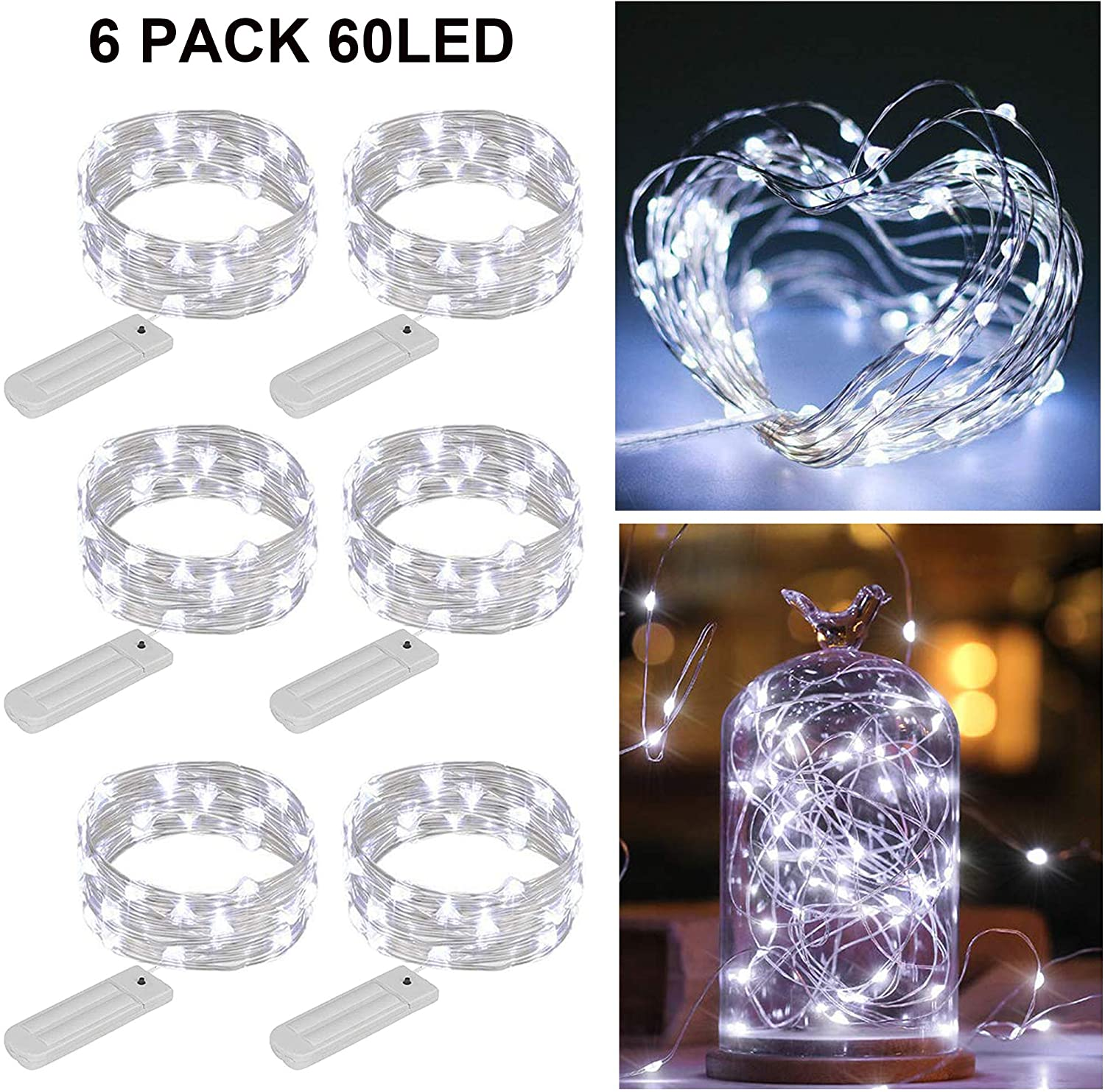 ZNYCYE 6 Pack 10 Feet 60 Led Fairy Lights Battery Operated - String Lights with 8 Modes Waterproof Copper Wire Firefly Lights for DIY, Wedding, Indoor, Craft Decoration (Cool White No Timer)
