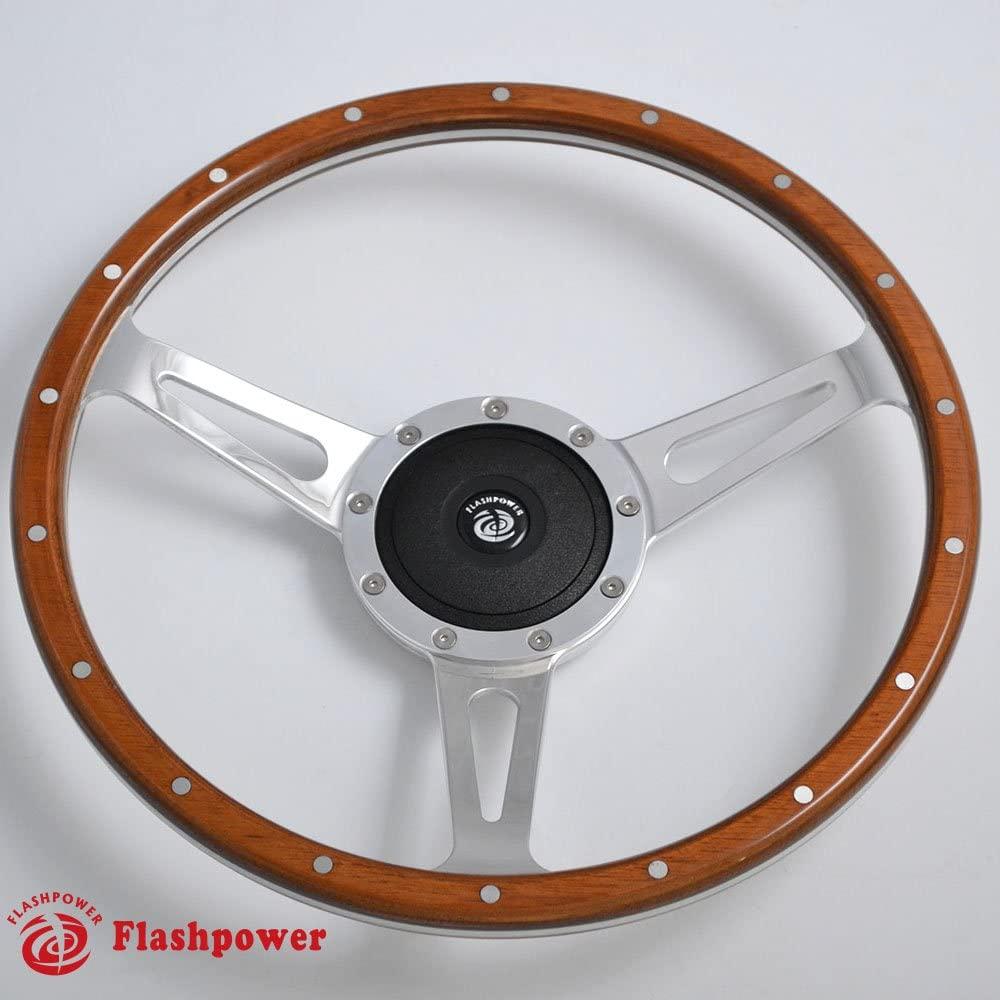 15'' Classic Riveted wood grain steering wheel Restoration MGB Midget Derrington