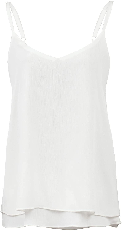 QBSM Women's V-Neck Chiffon Spaghetti Strap Cami Tank Top, Loose Flowy Camisole Sleeveless Shirts