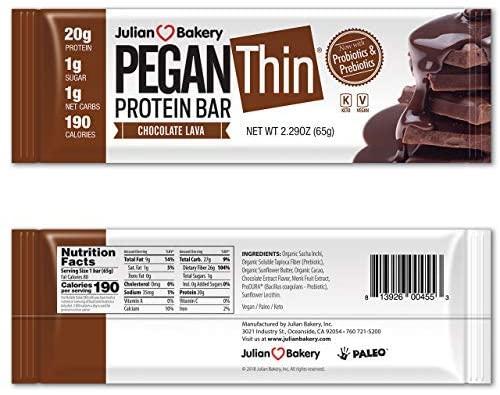 Julian Bakery Pegan Thin® Protein Bar (Chocolate Lava) (10 Bars) (20g Organic Plant Protein) (1 Net Carb 1g Sugar) VeganⓋ