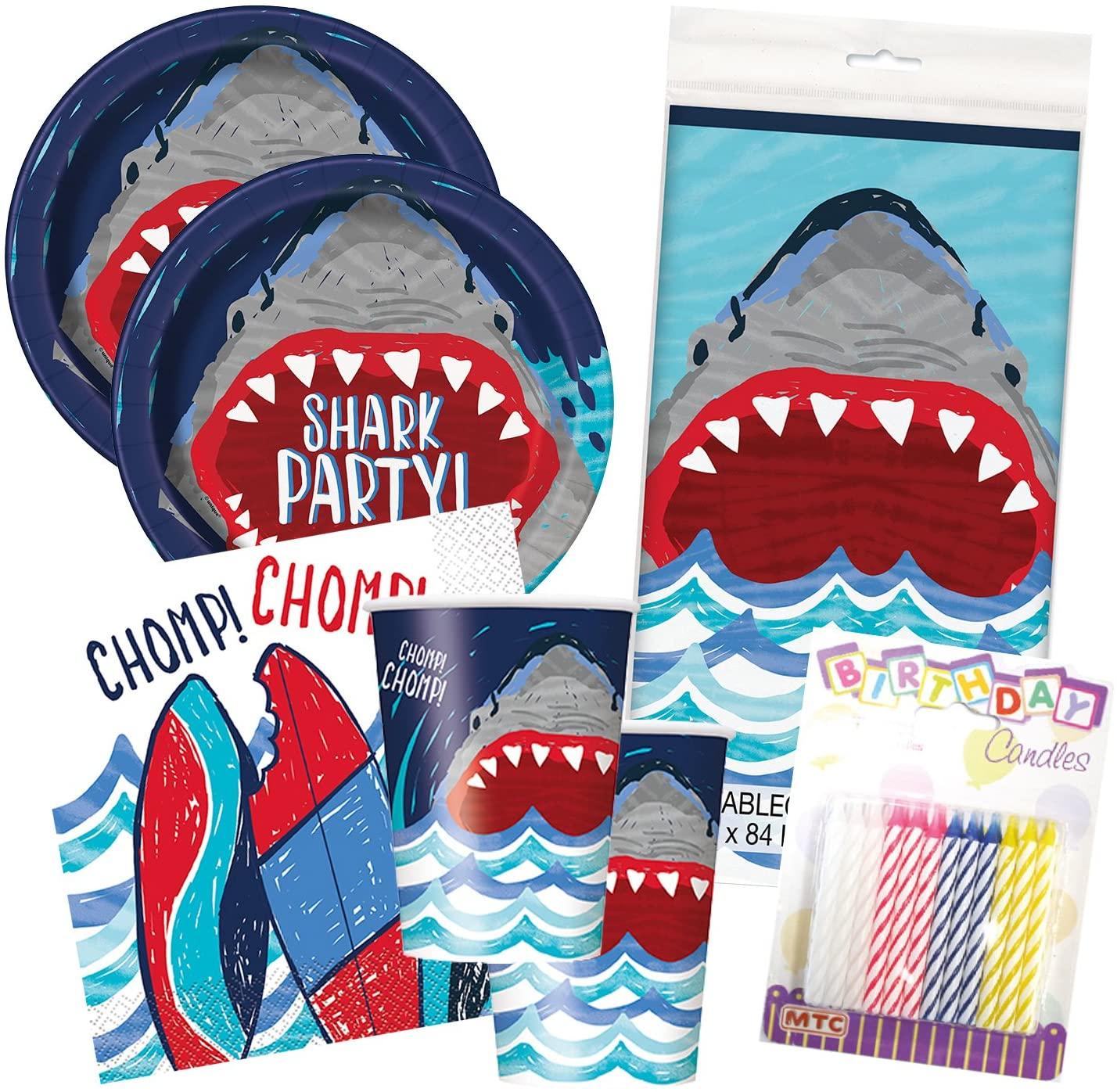 Shark Party Birthday Celebration Tableware Deluxe Bundle Plates Napkins Serves 16