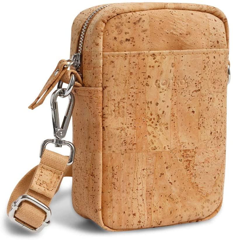 Vegan Waist Bag Pack Crossbody Pouch Bum Vertical Brown Light Brown