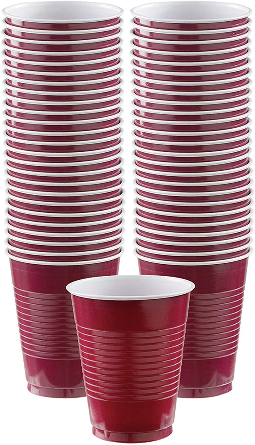Amscan Durable Plastic Cups, 50 pieces, Berry