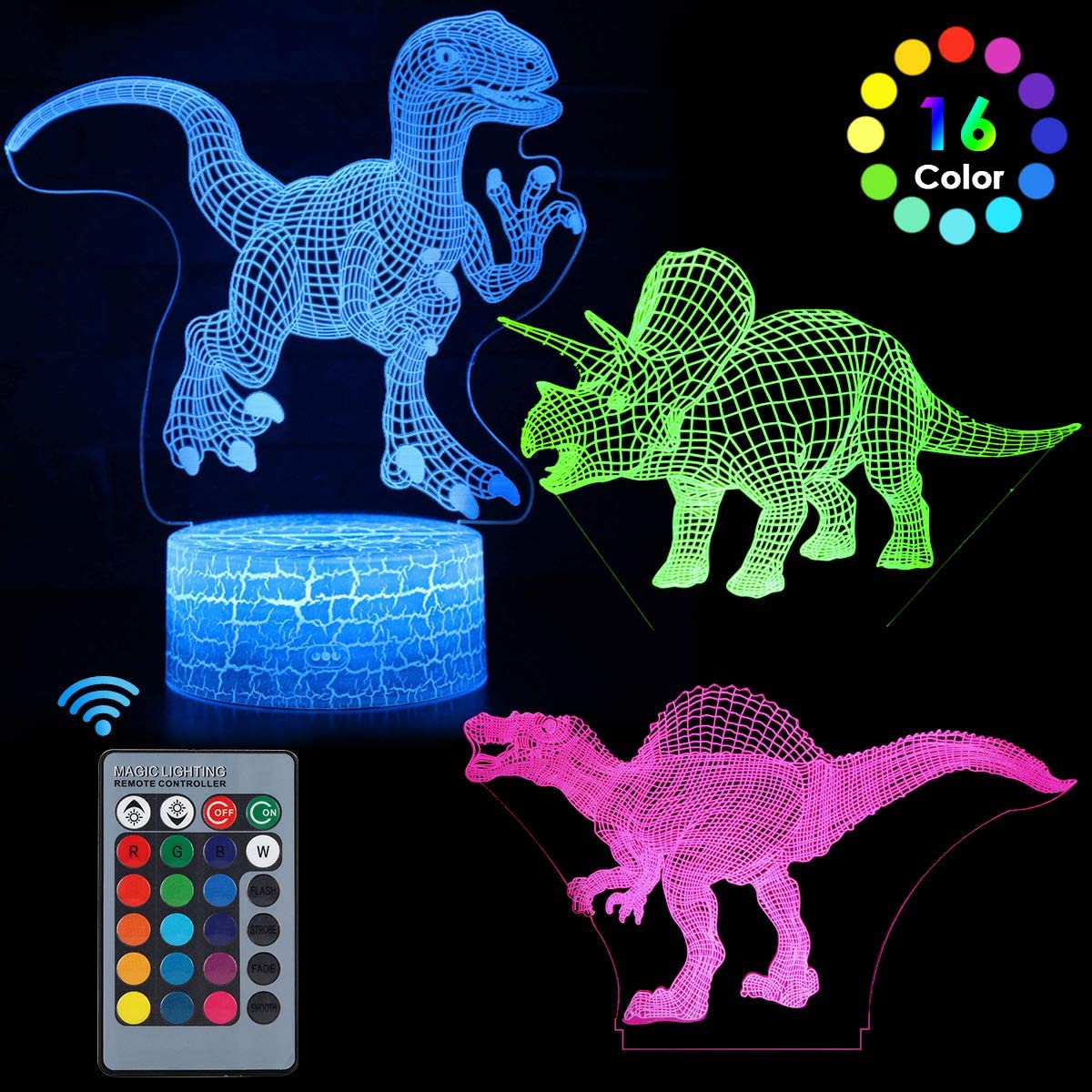 3D Dinosaur Night Light 7 Colors 3 Pattern Change LED Illusion Lamp Light