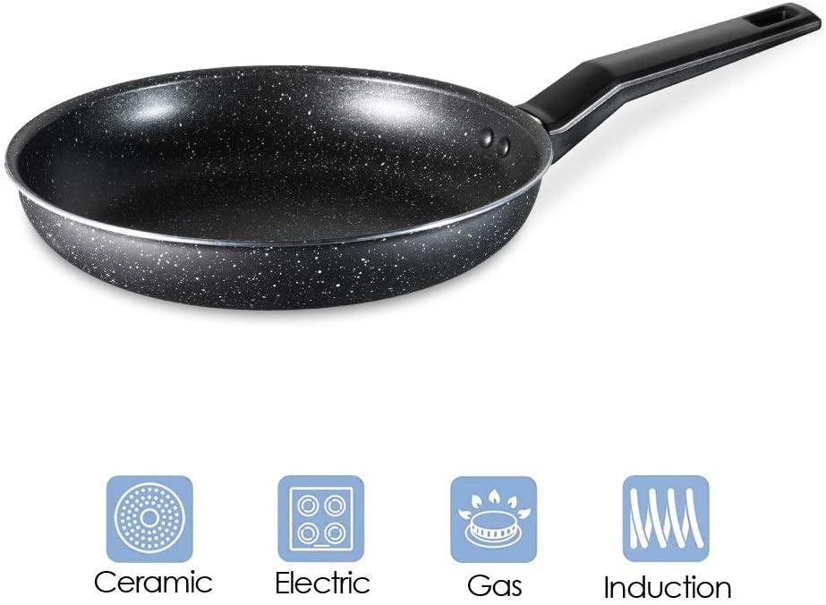 Nonstick Frying egg Pan Skillet,Healthy Stone Cookware Chef's Pan Granite Coating,Aluminum omelette Pan,11.5-Inch black