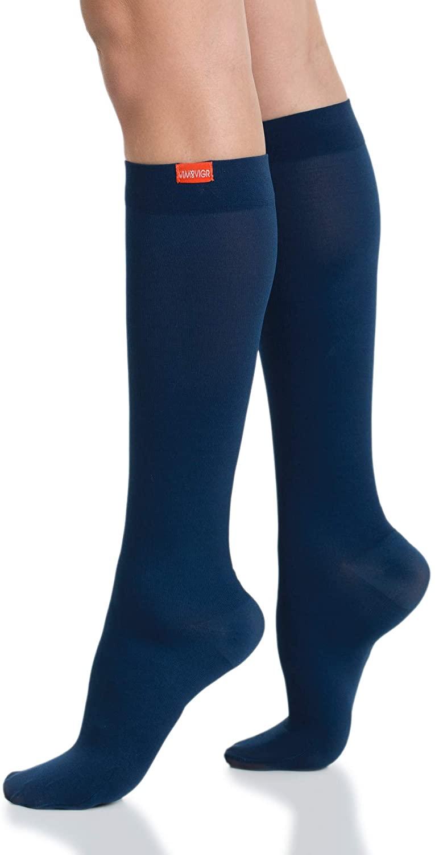 VIM & VIGR Moisture Wick Nylon 15-20 mmHg Compression Socks for Women & Men (Navy, Small/Medium Wide Calf)