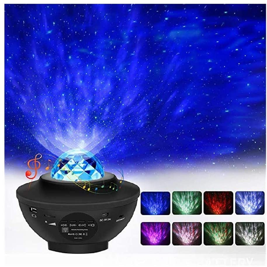 CMrtew Multicolors Dynamic Starry Sky Night Light Projector Blueteeth USB Voice Control Music Player Projection Lamp for Kids Bedroom,Game Rooms,Home Theatre (Black)