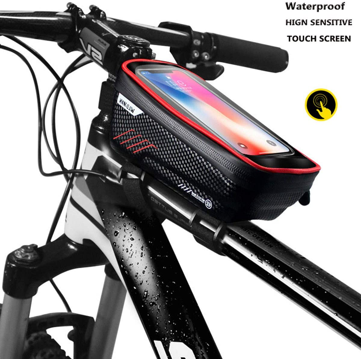 """TiKeDa Bike Phone Mount Handlebar Bags with Touch Screen,Waterproof Front Frame Top Tube Storage Bag for iPhone 11 X XS Max XR 8 7 6 Plus SE 2020,Fit Cell Phone Under 6.5"""""""