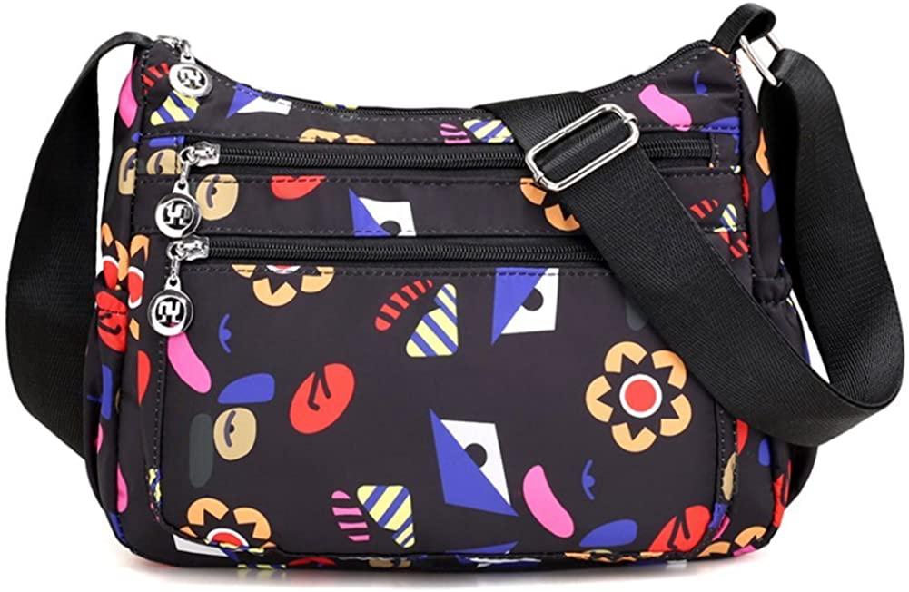 Collsants Nylon Crossbody Purse for Women Travel Shoulder Bag Multi Pocket Water Resistant