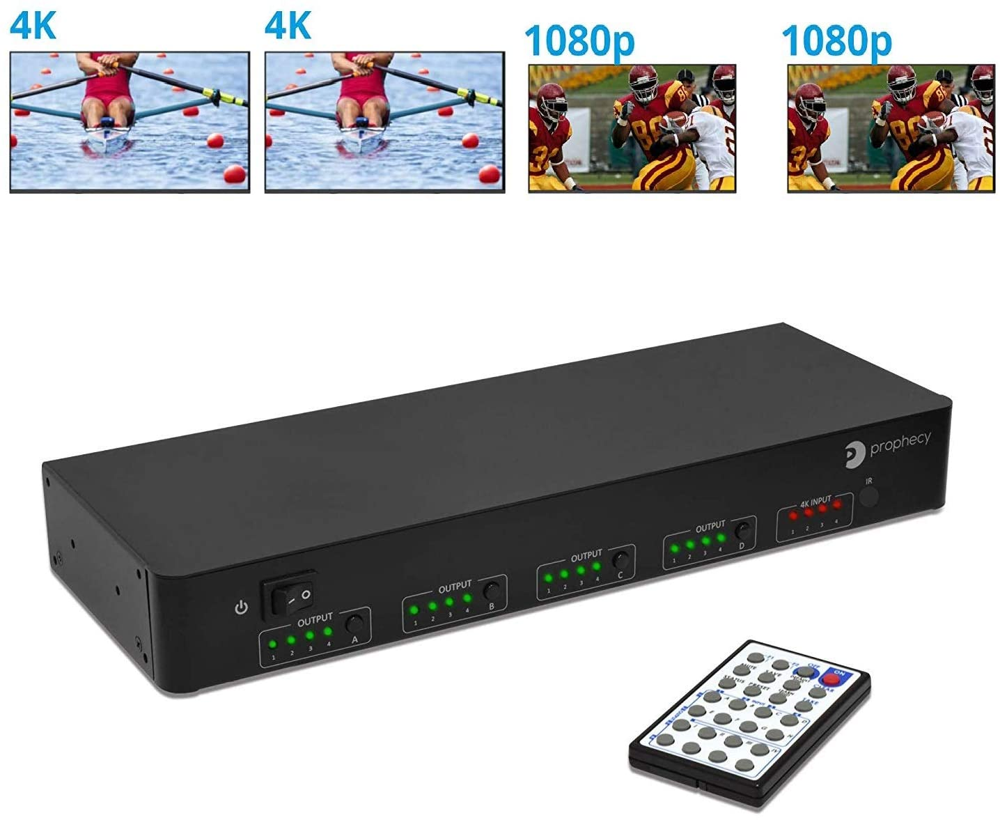 gofanco Intelligent 4x4 HDMI Matrix Switch 4K 60Hz YUV 4:4:4 HDR with Auto Downscaling (Output 4K & 1080p Together) & Alexa Echo Voice Control, HDMI 2.0, HDCP 2.2, 18Gbps, IR, RS-232, Control4