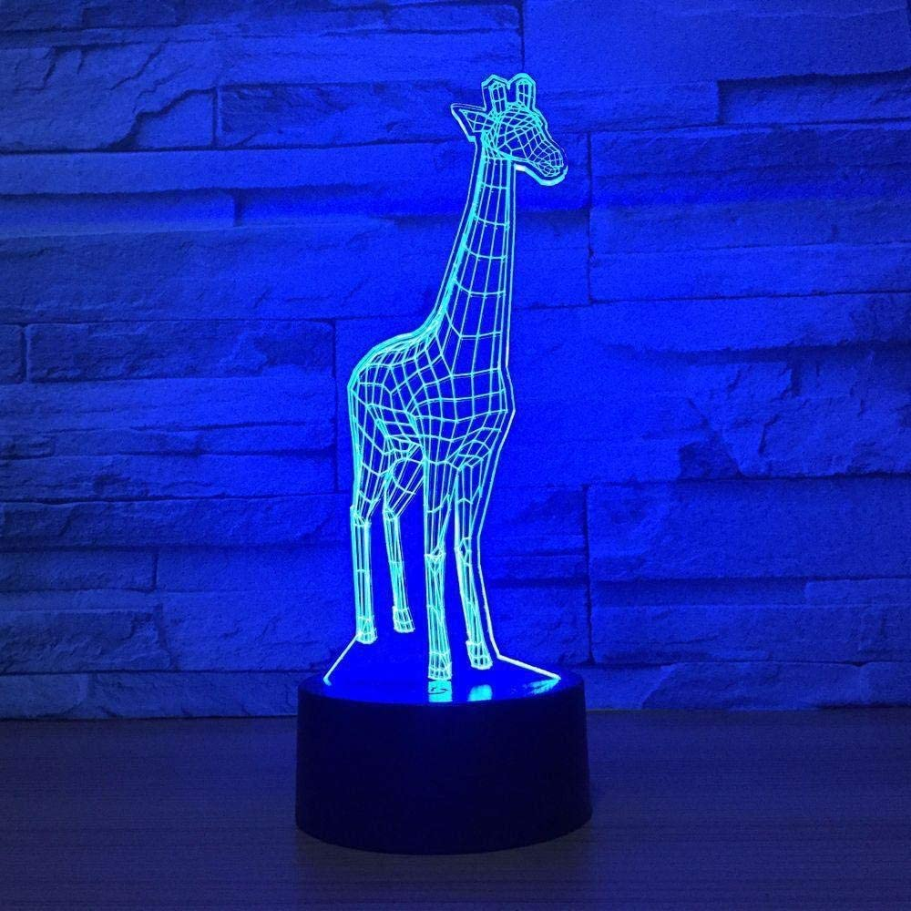 Lamps 3D Illusion LED Night Light 7 Colors Charge Bedroom Home Decoration Touch Switch&Remote Control&USB Cable Giraffe for Kids Christmas Birthday Gift