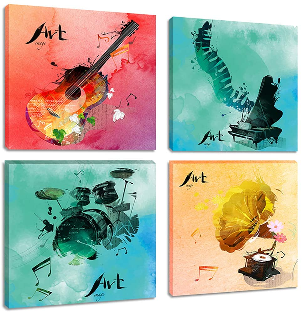 Modern Musical Notes Wall Art Paintings Pop Watercolor Canvas Print Pictures for Bedroom Living Room Decor Artwork, Framed 16x16 Inches